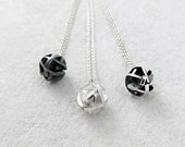Geometric silver ball pendant on fine chain, oxidized silver necklace, 3D printing - Negative/Positive collection