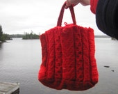 Shades of Red Hand Knit Handbag, Festive Red Cable Purse