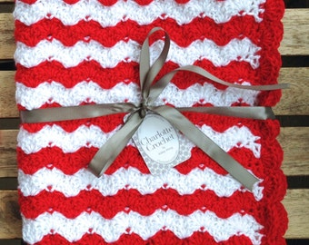 Crochet Baby Blanket for New Born to 12 months - Little Angel (White & Red)