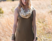 The Golden Compass Infinity Scarf - Hand block printed, Natural Vegetable Dyes, 100% Cotton Loop Scarf, Infinity Cowl, Tube Scarf