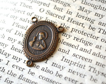 """Sacred Heart of Jesus and Profile of Mary Rosary Center - 7/8"""" - Bronze - Vintage Replica"""