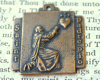 St Pio Medal  - St Padre Pio Medal - Bronze or Sterling Silver - Made in USA (M-1254)