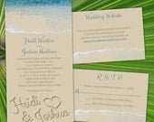 "Custom ""By The Sea"" Beach Wedding Invitations"