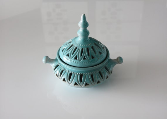 Special sale pottery candy jar turquoise blue middle eastern cookie jar with lid home decor was 28.00