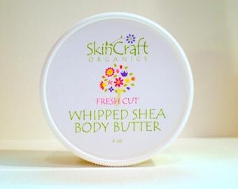 Natural Body Cream- Organic Whipped Shea Butter Body Butter - Jasmine & Ylang Ylang - Vegan  4 oz