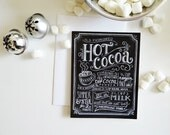 Winter Recipe Card - Hot Cocoa Card - Holiday Chalkboard Card - Unique Christmas Card - Hand Lettering - Recipe Illustration