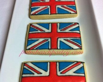 BRITISH FLAG Cookies 1 Dozen (12)