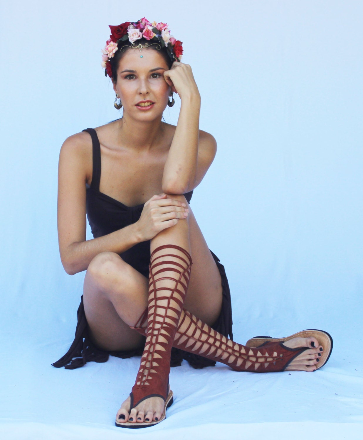 terracotta brown gladiator sandals , steampunk sandals made frome Swimwear , Swimsuit , Bikini, Bathing suit, lycra steampunk buy now online