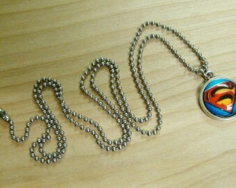 Superman - Glass Pendant with Stainless Steel Ball Chain