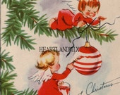 Angels Painting Ornaments Digital Image Download Printable Christmas