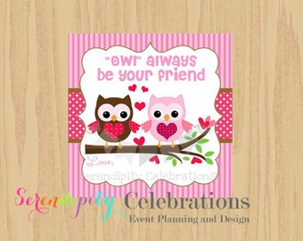 Instant Download: DIY Printable Favor Tags- Valentines Day Owl Friends Favor Tags -Gift Tags -Square Thank You Tags -School Treats -Holiday