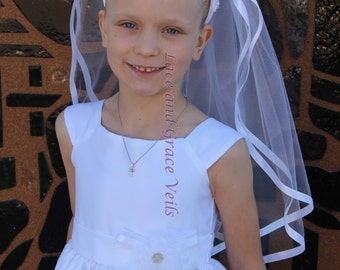 First Holy Communion Headband with Veil decorated with Sequins & Pearls on Top, WHITE