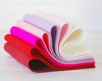 "100% Wool Felt Sheets - ""Be My Valentine Collection""  - 7 Wool Felt Sheets of 8"" x 12"" - Wool Felt Sheets for Valentine  - Wool Felt Bundle"