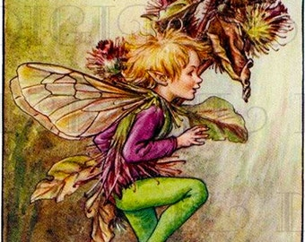 Burdock FAIRY! Vintage Fairy Digital Illustration. Digital Fairy Printable Image Download. Vintage Fairy Digital Print. Cecily Marty Baker.