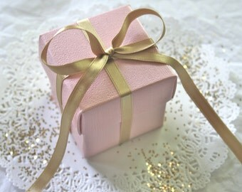 SOFT PINK Favor Boxes BULK with Luxury Satin Ribbon