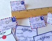 Blue/Red Airmail Set of 20 Tiny Letters from Tooth Fairy in traditional Airmail colors