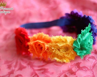 x { Colorful Creation } *BEST SELLER* The original Rainbow Shabby Crown,Rainbow Headband, Colorful Headband, Baby Headband, Photography Prop
