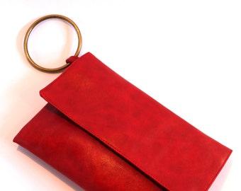 Red Clutch Purse, Vegan Wristlet, Evening Purse, Vegan Handbag, Evening Clutch, Small Clutch
