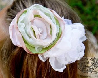 wedding flower hair piece vintage easter prop hair clip fabric flower children newborn flower girl pink green ivory shabby chic headband