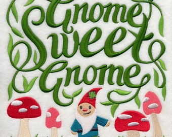 Gnome Sweet Gnome Embroidered on Made-to-Order Pillow Cover