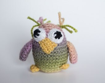 Crocheted Owl - Little Baby Pink and Green, Amigurumi Stuffed Animal, Woodland Owl - Perfect for Babies and Toddlers - Fun Stocking Stuffer