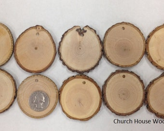 25 of our 2 inch tree wood slices with hole drilled, for Rustic Weddings, Rustic Tags, Crafts