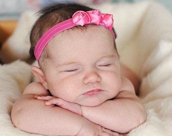 Baby Headband Satin Flower Headband  Newborn headband Tiny Flower  Petite flower Bow