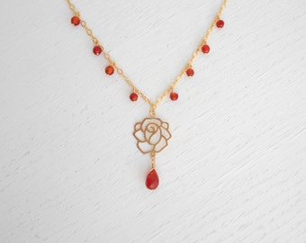 Red carnelian necklace, Gold rose necklace, Teardrop necklace