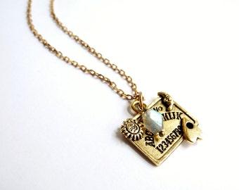 Ouija Board Necklace, Halloween Jewelry, Retro Ouija Charm, Spooky Jewelry, Talking Board