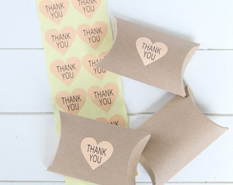 96 Pink Heart Thank You Labels Stickers, Pink Favor Thank You Stickers , Wedding Favors etc.