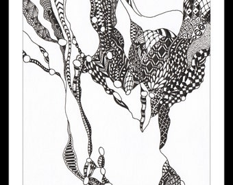 "Framed Original: ""Web Head No. 1"" - Patterned pen and ink drawing of an abstract head and neck. A5"