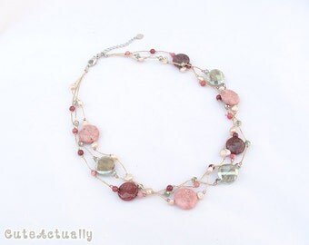 Pink stone crystal necklace with freshwater pearl, crystal and glass beads on silk thread, 3 strands