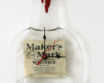 Makers Mark Whisky, Wall Clock, Melted Bottle, Man Cave Clock, Up-cycled bottle, Recycled bottle, Groomsmen Gift, Father's Day Gift