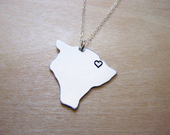 Hand Stamped Heart Hawaii Big Island State Sterling Silver Necklace / Gift for Her