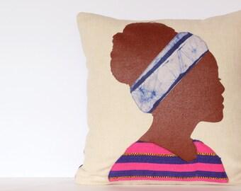 Pink Throw Pillow Cushion, Bohemian Pillow, Girl Pillow, Applique Pillow, Silhouette Pillow, Pink and Gold Pillow, 14x14 Pillow Cushion