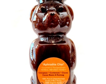 Organic APHRODITE CHAI Herbal Infused Honey: Cinnamon, Cardamom, Cloves, Raw Cacao Beans & Nutmeg. Non-GMO