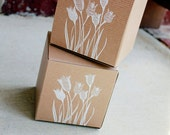 Rustic Wedding Favor Boxes set of 5, Wedding Favor Box, Kraft wedding favors, Burlap lace wedding, rustic wedding decor, 4x4x4 rustic box