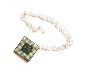 Computer electronics pendant necklace cyberpunk geek green gold silver plated chain funk OOAK