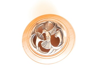 Lathed potpourri bowl wood wooden treen handmade metal lid hummingbird dried flowers oils home decor OOAK