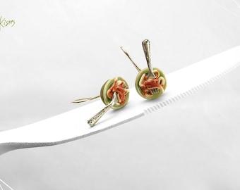 Spaghetti Napoletana Earrings, Italian Food Earrings, Miniature Food Jewelry, Pasta Earrings, Mediterranean Food, Spaghetti Earrings