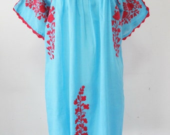 Mexican Embroidered Dress Cotton Tunic, Boho Dress, Peasant Dress, Gypsy Dress