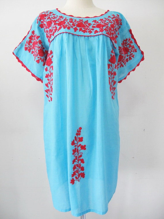 Mexican embroidered dress cotton tunic boho peasant