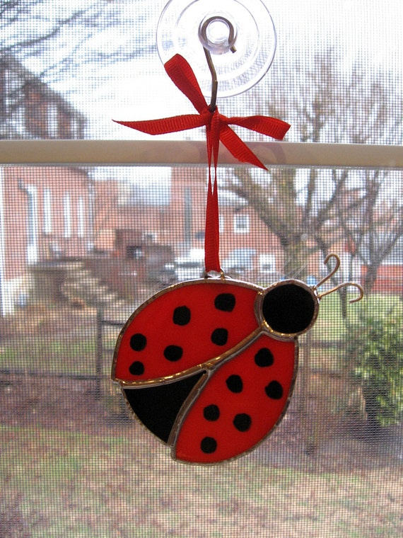 Lady Bug Stained Glass Suncatcher - Nature Decor - Lady Bug Ornament - Glass Art - Garden Decor