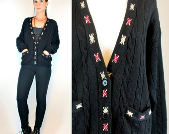 AZTEC Embroidered Southwestern Cable Knit Black Sweater Top. Vintage 80s Boho Hipster Hippie Dress Cardigan w/ Pockets Extra Small - Small