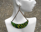 Half Moon // Afrocentric // Natural Wood Hand Painted Earrings // African and Caribbean Inspired Jewelry