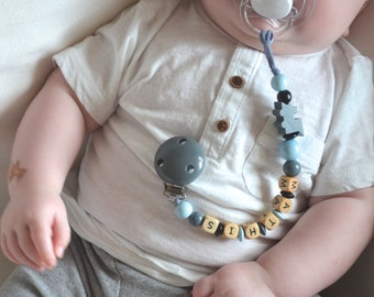 Pacifier clip, gray pacifier clip, personalized name pacifier clip, beaded pacifier clip, pacifier holder, boy pacifier clip, boy nursery