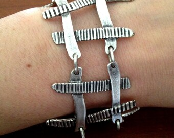 Country Fence, Old Ladder Look, Stripy Pattern  Silver Plated Adjustable Bracelet
