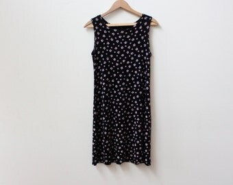Black Tiny Flower 90s Mini Dress