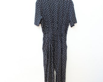 One Piece Patterned 80s Jumpsuit