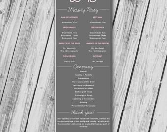 Wedding Ceremony Program - Printable PDF - Grey & Pink